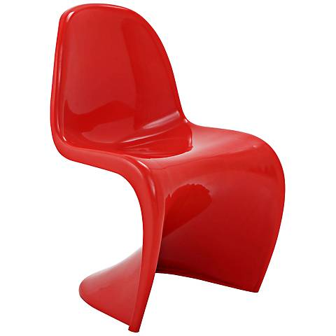 Slither Molded Red Dining Side Chair