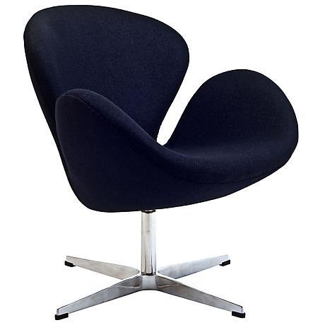 Wing Modern Black Fabric Lounge Chair