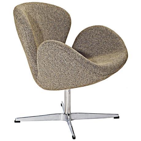 Wing Modern Oatmeal Fabric Lounge Chair
