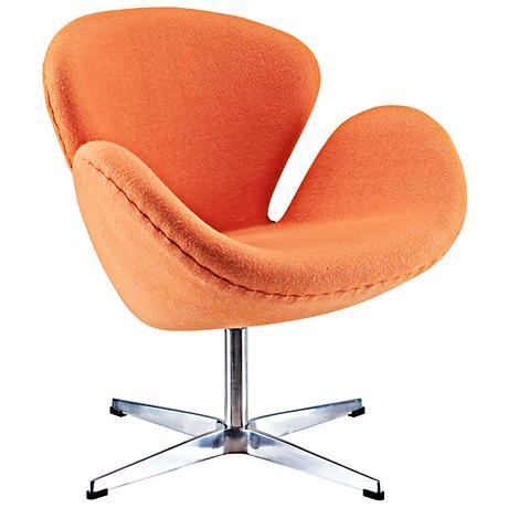 Wing Modern Orange Fabric Lounge Chair