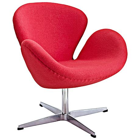 Wing Modern Lipstick Red Fabric Lounge Chair
