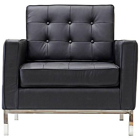 Loft Modern Tufted Black Leather Armchair