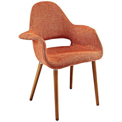 Aegis Mid-Century Orange Twill Dining Armchair