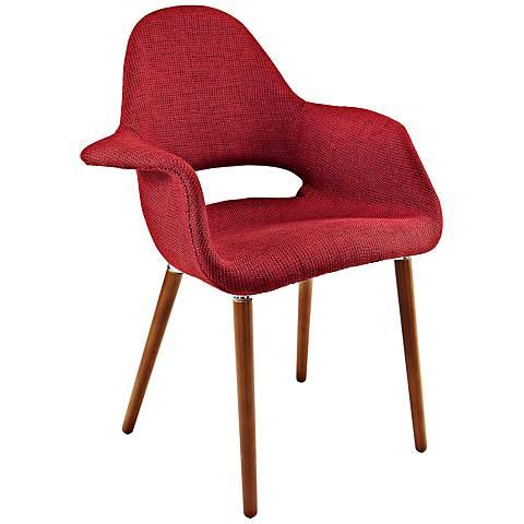 Aegis Mid-Century Red Twill Dining Armchair