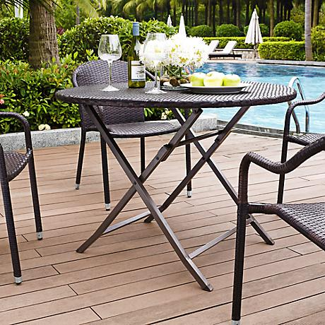 Palm Harbor Outdoor Wicker Round Folding Dining Table