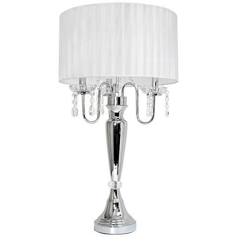 Pettit White Sheer Shade and Hanging Crystals Table Lamp