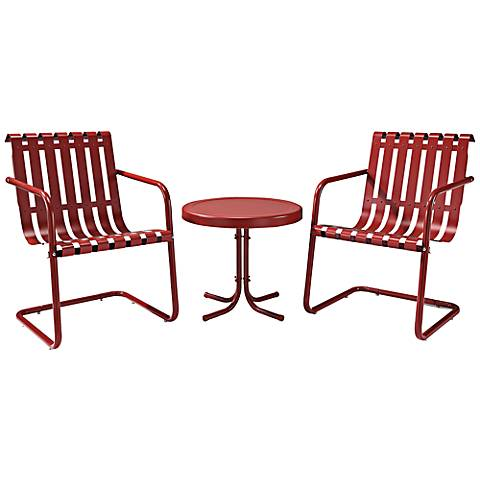 Gracie Coral Red 3-Piece Outdoor Retro Seating Set