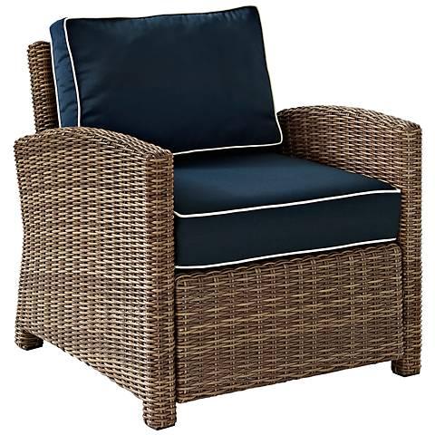 Bradenton Rattan Wicker Navy Cushion Outdoor Armchair