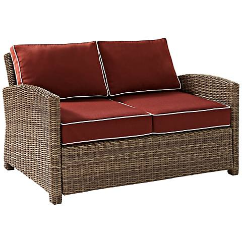 Bradenton Wicker Sangria Cushion Outdoor Loveseat