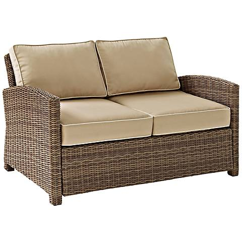 Bradenton Rattan Wicker Sand Cushion Outdoor Loveseat