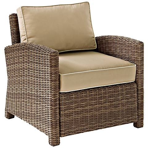Bradenton Rattan Wicker Sand Cushion Outdoor Armchair