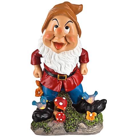 "Happy Gnome with Birds 11"" High Solar Outdoor Garden Statue"