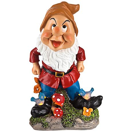 "Happy Gnome with Birds 11"" High Solar Outdoor Garden Statue"
