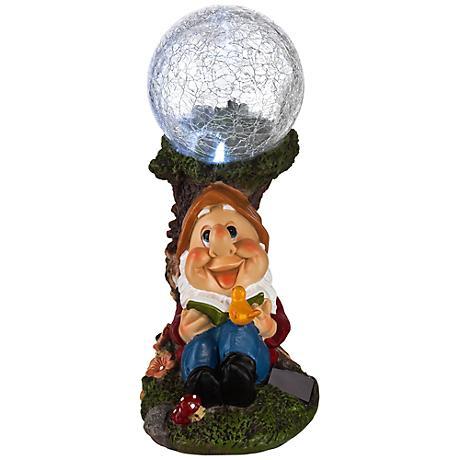 "Reading Gnome 9"" High Solar Light Garden Statue"