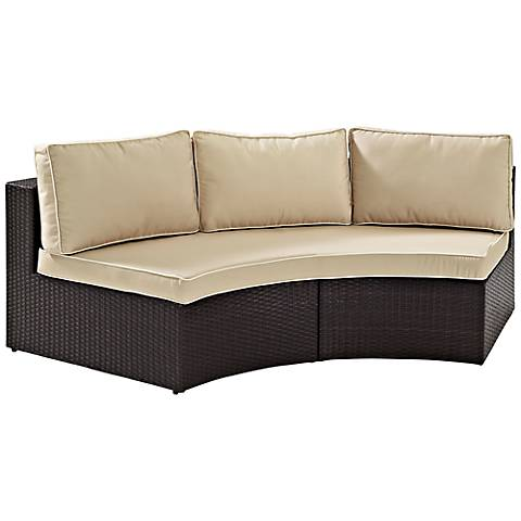 Catalina Sand Outdoor Wicker Round Sectional Sofa
