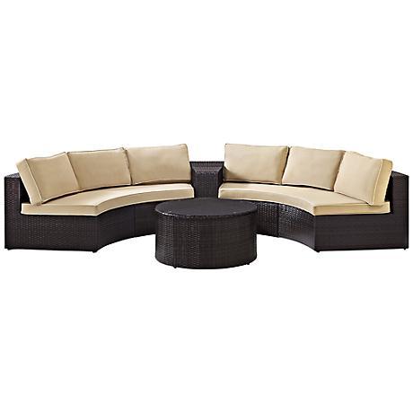 Catalina Sand 4-Piece Outdoor Wicker Sectional Sofa Set