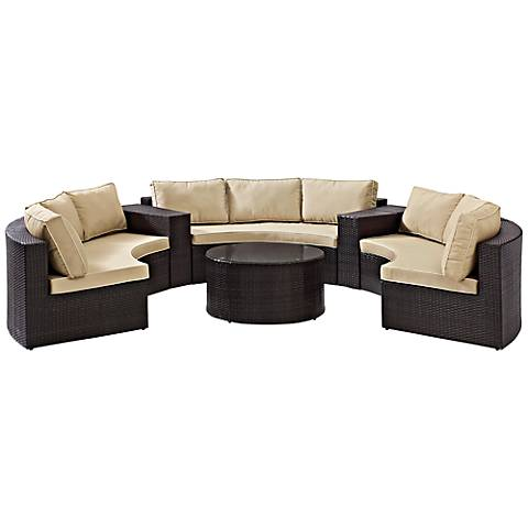 Catalina Sand 6-Piece Outdoor Wicker Sectional Sofa Set