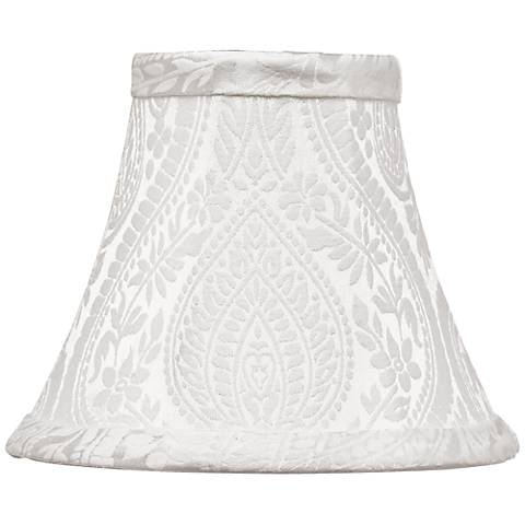 White Paisley Bell Lamp Shade 3x6x5 (Clip-On)