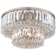"Magnificence Satin Nickel 16"" Wide Crystal Ceiling Light"