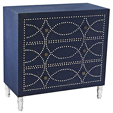 Crestview Cobalt Blue Fabric 3-Drawer Accent Chest