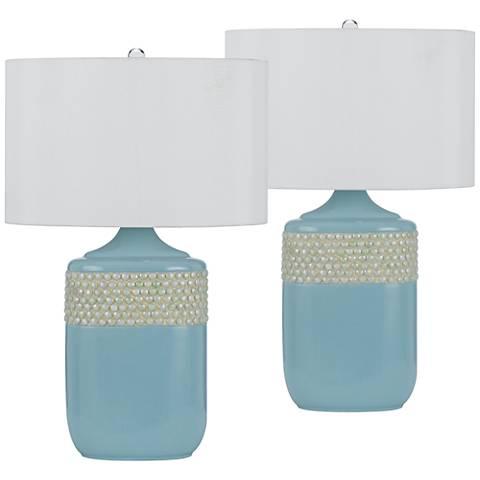 Nichelle Aqua Blue Ceramic Table Lamp Set of 2