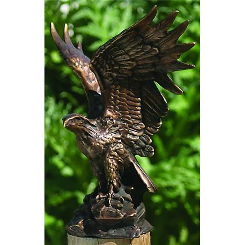 "Henri Studios Eagle Bronze 10"" High Cast Brass Statue"