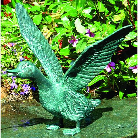 "Henri Studios Splashing Duck Verdigris 12"" Pondless Fountain"