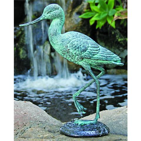 "Henri Studios Heron Verdigris 13"" High Brass Statue"
