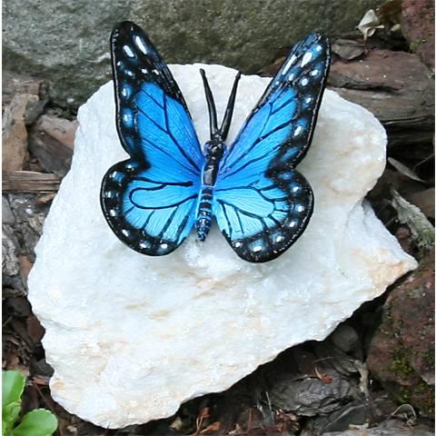 """Henri Studios Blue Butterfly 4"""" High Garden Accent Set of 4"""