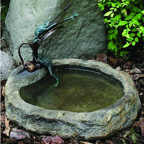 "Henri Studios Frog and Dragonfly 14""H Cast Stone Dish Accent"