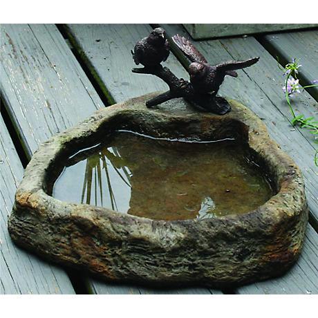 "Henri Studios Bronze Two Birds 18""H Cast Stone Dish Accent"
