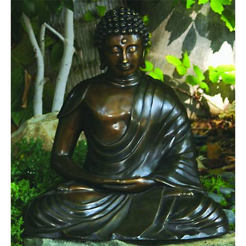 "Henri Studios Seated Buddha Bronze 18""H Cast Brass Statue"