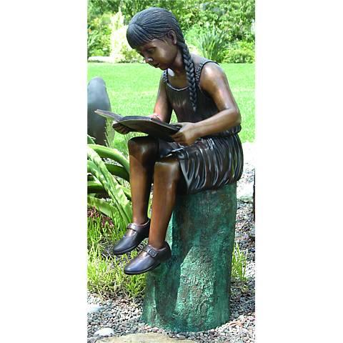 """Henri Studios Emily Cast Brass Girl 39"""" High Outdoor Statue"""