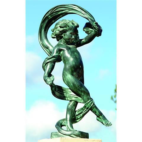 """Henri Studios Dancing in the Wind 36""""H Cherub Outdoor Statue"""