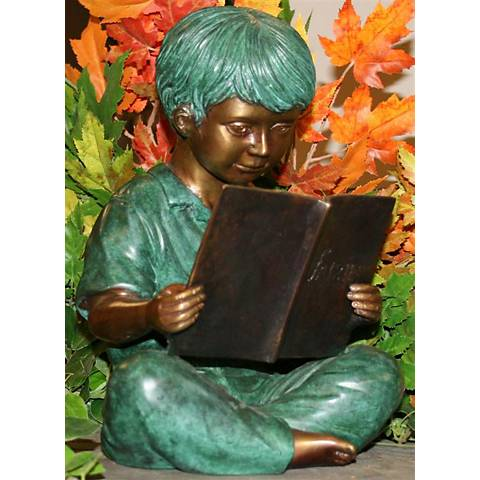 "Henri Studios Storybook Boy 11""H Cast Brass Outdoor Statue"