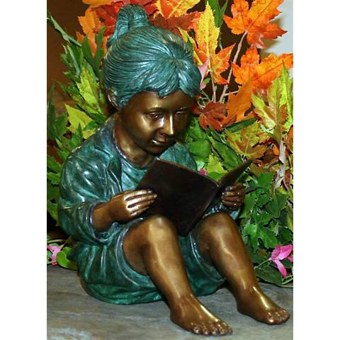 "Henri Studios Storybook Girl 13""H Cast Brass Outdoor Statue"