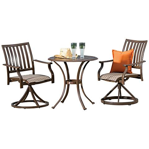 Panama Jack Island Breeze 3-Piece Patio Swivel Bistro Set