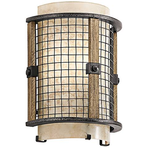 """Kichler Ahrendale 10""""H Vetro Mica Anvil Iron Wall Sconce"""