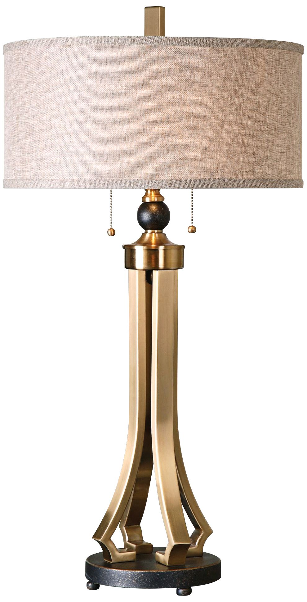 uttermost selvino brushed brass column table lamp