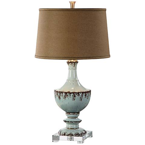 Uttermost Molara Aged Blue Ceramic Table Lamp