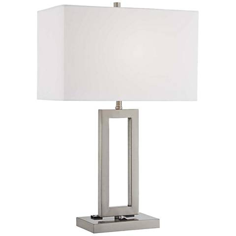Lite Source Fiadi 2-Outlet Modern Polished Steel Table Lamp