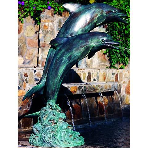 "Henri Studios 39""H Medium Double Dolphins Pondless Fountain"