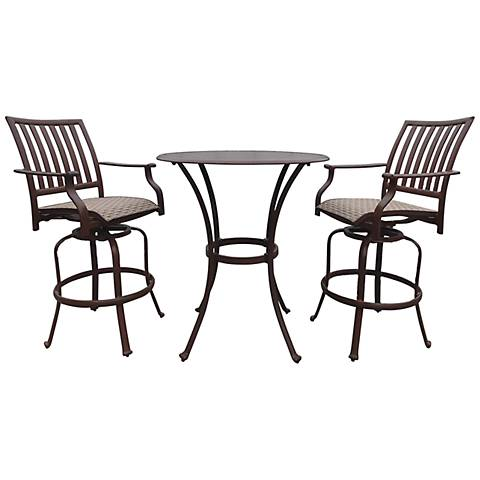 Panama Jack Island Breeze 3-Piece Patio Swivel Pub Set