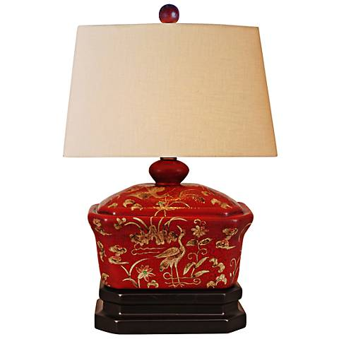 """Sukumi Red Lacquer Box 16"""" High Accent Table Lamp"""