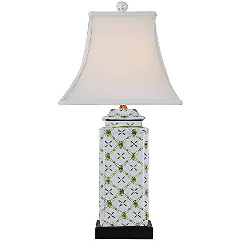 Vineyard White and Green Porcelain Jar Table Lamp