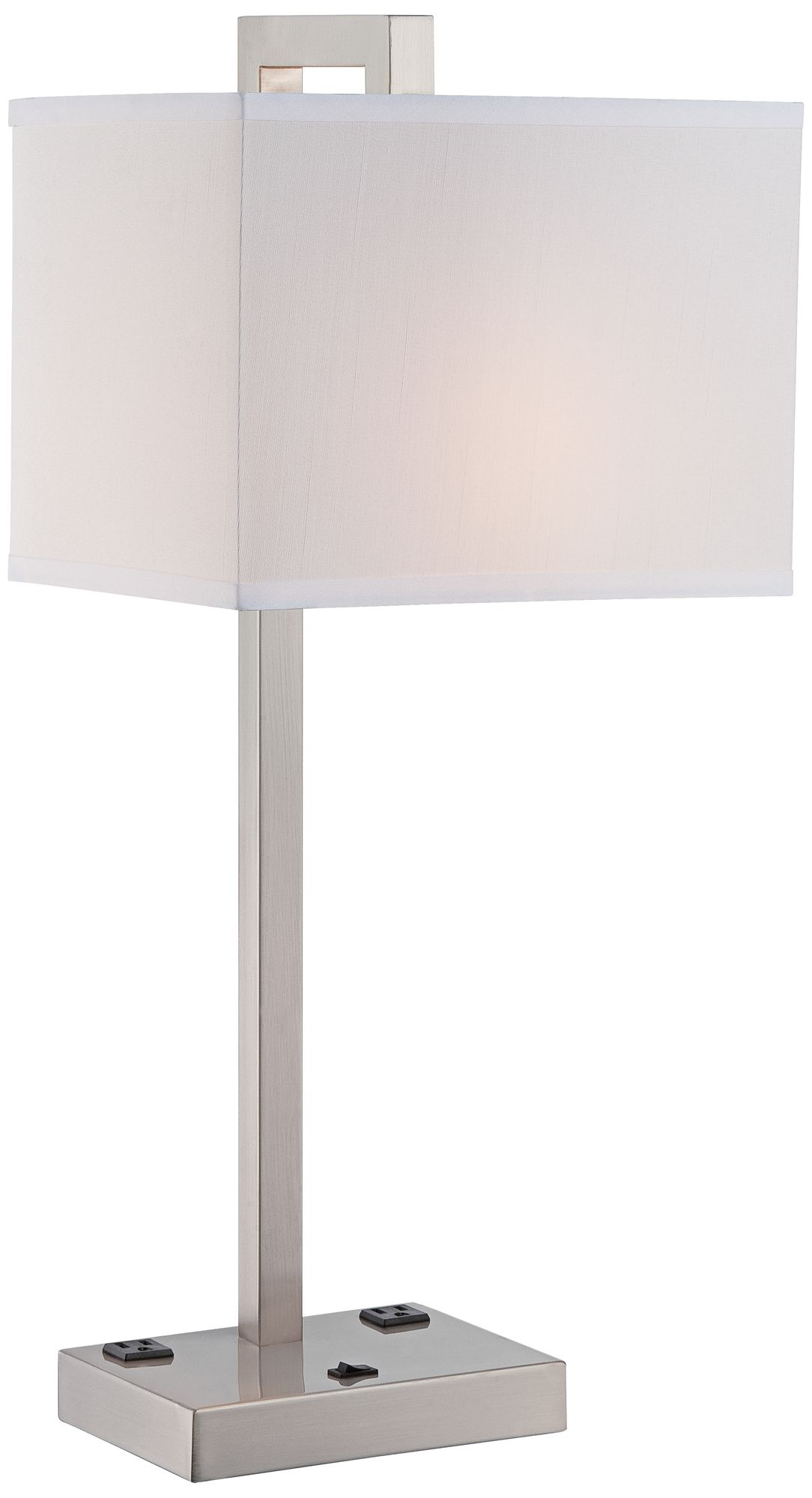 Lite Source Contento 2 Outlet Polished Steel Table Lamp