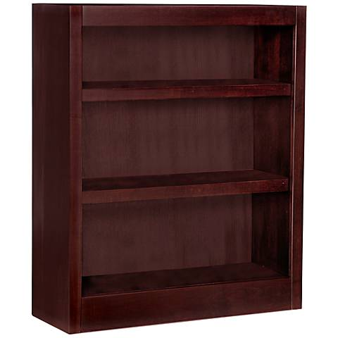 Grundy Cherry Single-Wide 3-Shelf Bookcase