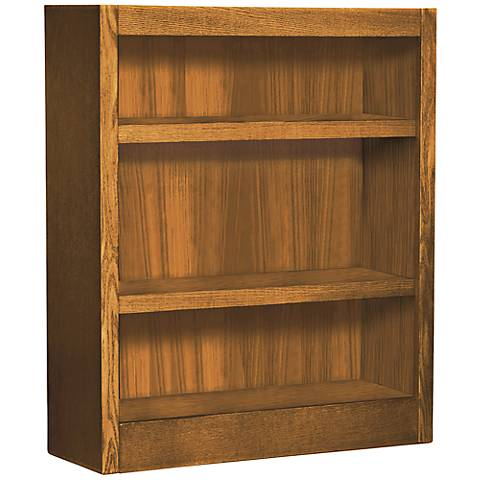 Grundy Dry Oak Single-Wide 3-Shelf Bookcase