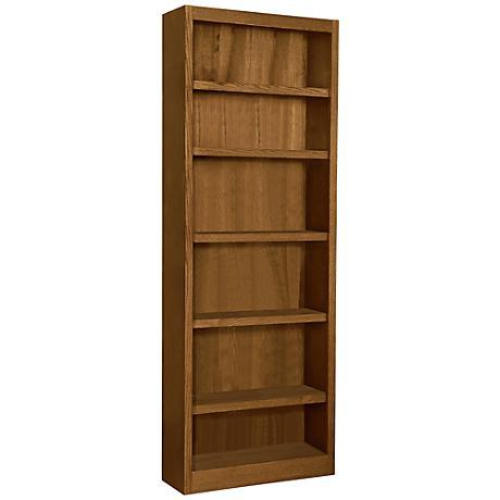 Grundy Dry Oak Single-Wide 6-Shelf Bookcase