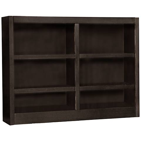 Grundy Espresso Double-Wide 6-Shelf Bookcase